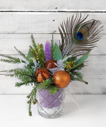 Новогодняя мини-композиция в стекле с перьями №17