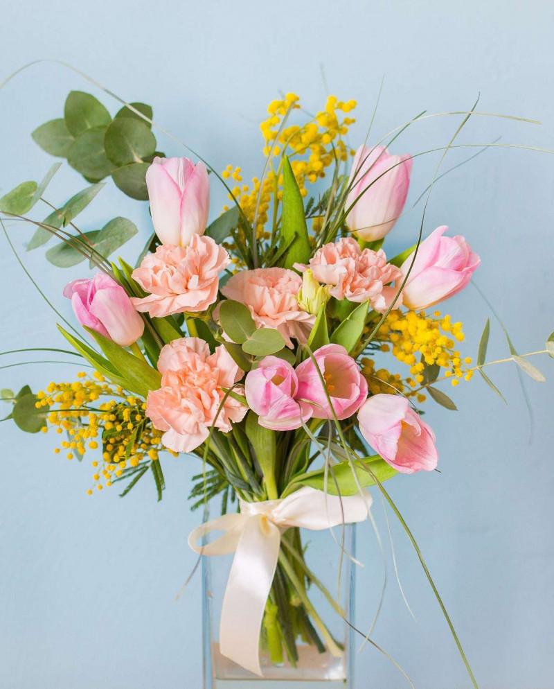 Розовый букет с тюльпанами №55
